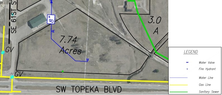 Lot EE Land Parcel Showing Utilities at Topeka Regional Business Center