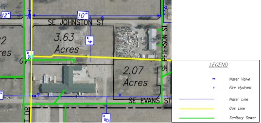 Lot G Land Parcel Showing Utilities at Topeka Regional Business Center