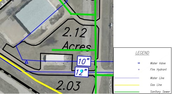 Lot JJ Land Parcel Showing Utilities at Topeka Regional Business Center