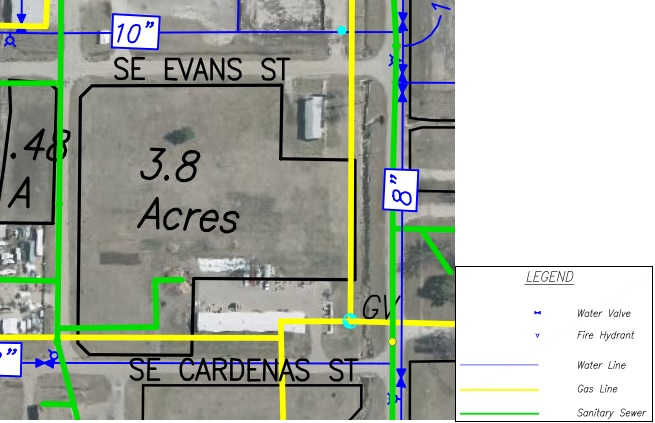 Lot CC Land Parcel Showing Utilites at Topeka Regional Business Center