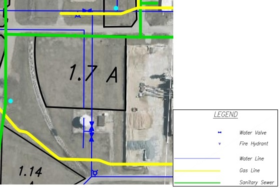 Lot GG Land Parcel Showing Utilities at Topeka Regional Business Center