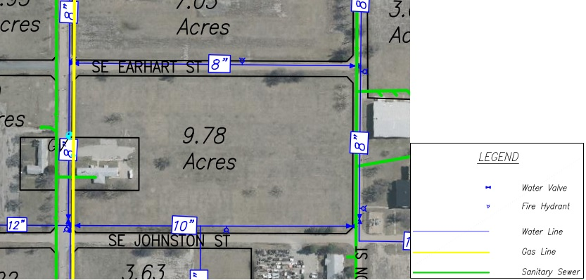 Lot H Land Parcel Showing Utilities at Topeka Regional Business Center