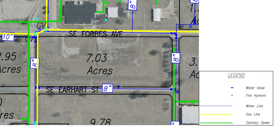 Lot I Land Parcel Showing Utilities at Topeka Regional Business Center