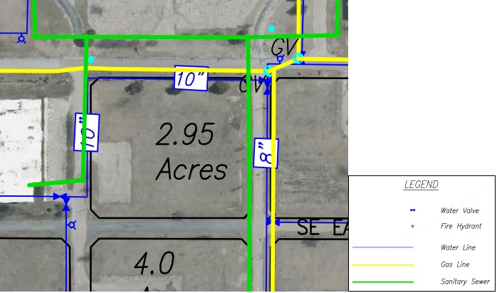 Lot J Land Parcel Showing Utilities at Topeka Regional Business Center