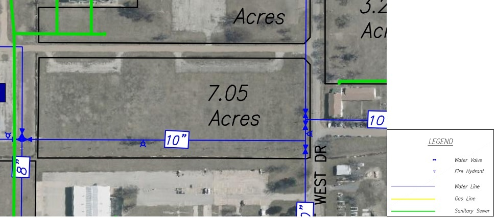 Lot O Land Parcel Showing Utilities at Topeka Regional Business Center