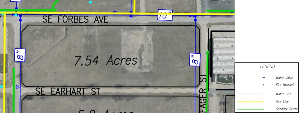 Lot S Land Parcel Showing Utilities at Topeka Regional Business Center