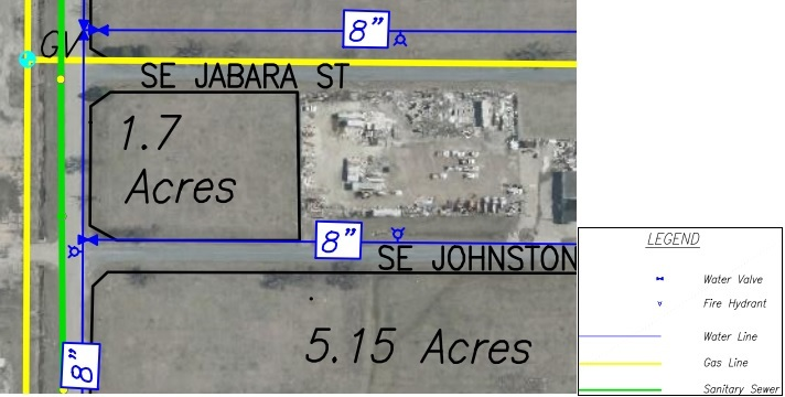 Lot U Land Parcel Showing Utilities at Topeka Regional Business Center