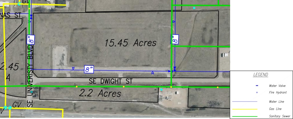Lot Y Land Parcel Showing Utilities at Topeka Regional Business Center